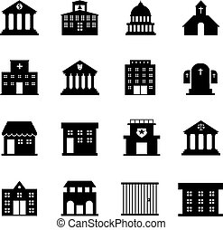 Government and public building vector icons. Government ...