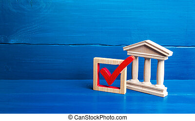 Government building and red check mark. Presidential or parliamental democratic elections, referendum. Social poll. Rights and freedoms. Government legitimacy and recognition.