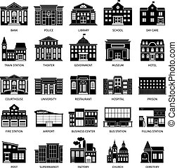 Government building black icons