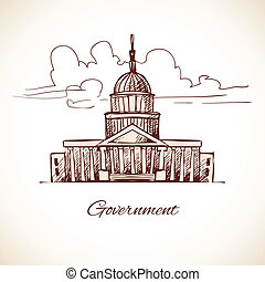 Government law politic building with skyline in brown color vector illustration