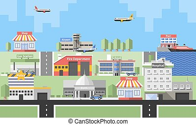 Government Buildings Background - Government buildings with...