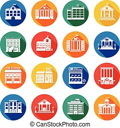 Government Buildings Flat Icons