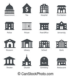 Government buildings icons - Government building icons set...