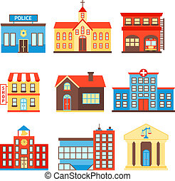 Government buildings icons - Government building icons set ...