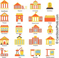 Government buildings icons set in flat design style, vector illustration.