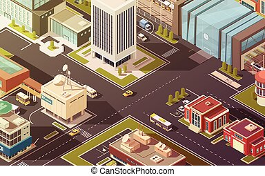 Government Buildings Isometric Illustration