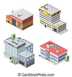 Government Buildings Set - Government buildings 3d isometric...