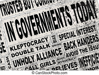 A collage of all the usual headline words associated with any government, anywhere.