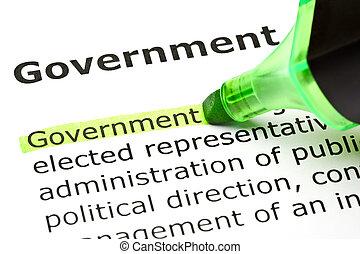 'government', hervorgehoben, in, grün