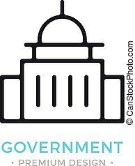 Government icon. Capitol building logo. Premium design. Vector thin line icon