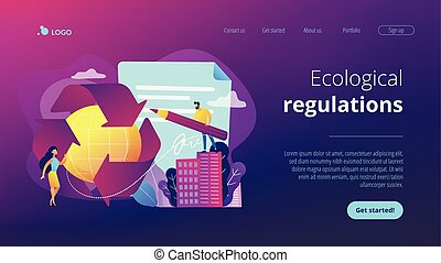 Government mandated recycling concept landing page. -...