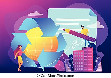 Government mandated recycling concept vector illustration. -...