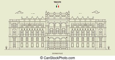 Government Palace in Trieste, Italy. Landmark icon in linear style