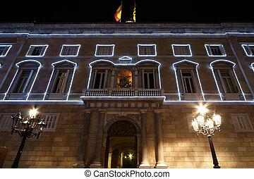 government Palace (Palau de la Generalitat) at night, Barcelona, Catalonia, Spain
