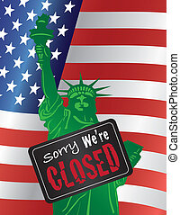 Government Shutdown Statue of Liberty Closed Sign...