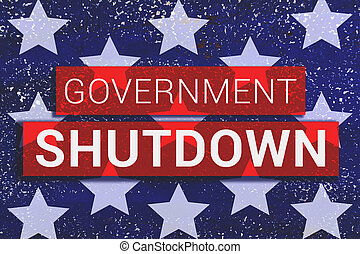 Government Shutdown Text With stars of Us Flag on blue background