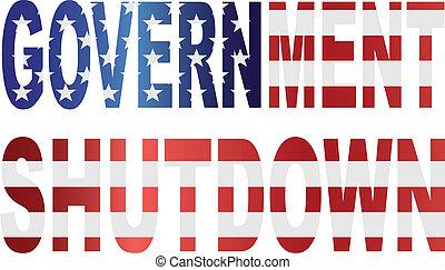 Government Shutdown US Flag Illustration - Government...