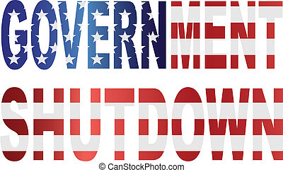 Government Shutdown US Flag Illustration - Government...