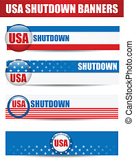 Government Shutdown USA Closed Banners.