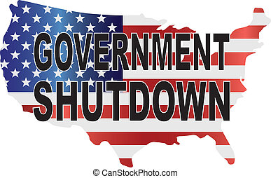 Government Shutdown USA Map Illustration