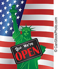 Government Shutdown We Are Open Sign with US Flag