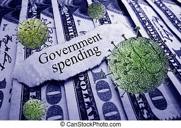 Government Spending news headline with Coronavirus on money