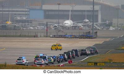 Governmental cortege in Frankfurt airport - FRANKFURT AM...
