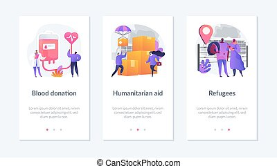 Medical volunteer assistance, charity activities and community service works icons set. Blood donation, humanitarian aid, refugees metaphors. Mobile app UI interface wireframe template.