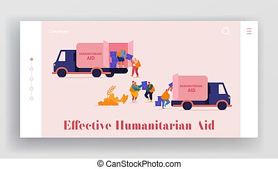 Governmental Help to People in Need Landing Page Template. Volunteers Characters in Humanitarian Aid Van Unloading Help Boxes to Refugees from Trucks, Material Assistance. Cartoon Vector Illustration