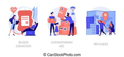Medical volunteer assistance, charity activities and community service works icons set. Blood donation, humanitarian aid, refugees metaphors. Vector isolated concept metaphor illustrations