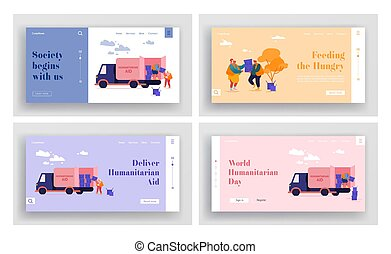 Governmental Material Assistance Landing Page Template Set. Volunteer Characters in Humanitarian Aid Van Unloading Help Boxes to Refugees from Trucks. Distribution of Food. Cartoon Vector Illustration