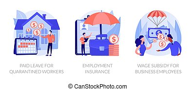 Governmental support for quarantined worker abstract concept vector illustration set. Paid leave, employment insurance, wage subsidy for business employee, sickness benefits support abstract metaphor.