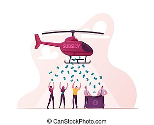 Governmental Support for Quarantined Worker Characters Concept. Paid Leave, Employment Insurance, Wage Subsidy for Business Employees, Sickness Benefits Support. Cartoon People Vector Illustration