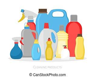 governo casa, plastica, pulitore, detersivo, set, ...