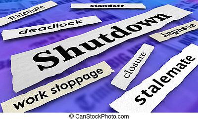 governo, ilustração, shutdown, jornal, stalemate, manchetes, 3d
