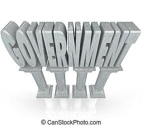 governo, palavra, mármore, colunas, estabelecimento, poder