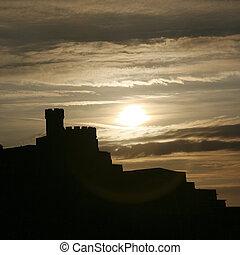 Governor House in silhouette at Calton Hill, Edinburgh, UK...