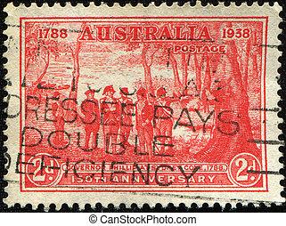AUSTRALIA - CIRCA 1938: A stamp printed in Australia devoted Governor Phillipat Sydney Cove, circa 1938