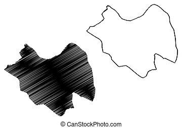 (governorates, città, schizzo, illustrazione, siriano,...