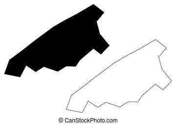 (governorates, mappa, schizzo, illustrazione, governorate,...