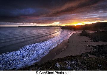 Gower sunset at Three Cliffs Bay