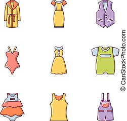 Gown icons set, cartoon style
