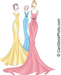 Gown Mannequins - Illustration Featuring Mannequins Wearing...