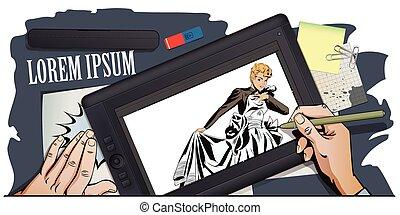 gown., regarder, mariage, girl, présentation, template.