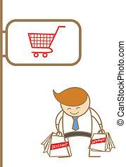 gozar, compras, empresa / negocio, carácter, caricatura, hombre
