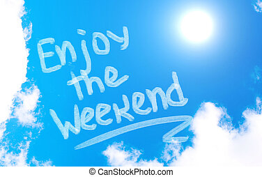 gozar, el, fin de semana, concepto