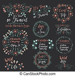 gozar, hermoso, campamento, elementos, diseño, Pegatinas, él, salvaje, dejar, Montaña, recoger, garabato, Conjunto, subida,  insignias, vida, tiempo,  logotypes, viaje, Al aire libre, sellos, comenzar, expedición, iconos, aventura, viaje, vacaciones, tarje