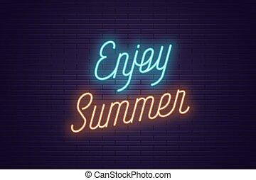 gozar, letras, texto, neón, encendido, summer.