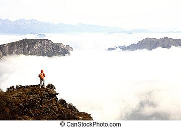gozar, montaña, mujer, joven, excursionista, pico, vista