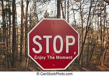 gozar, parada, momento, señal